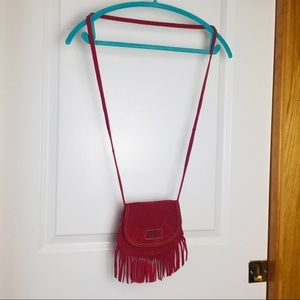 Bill a bong red suede fringe purse